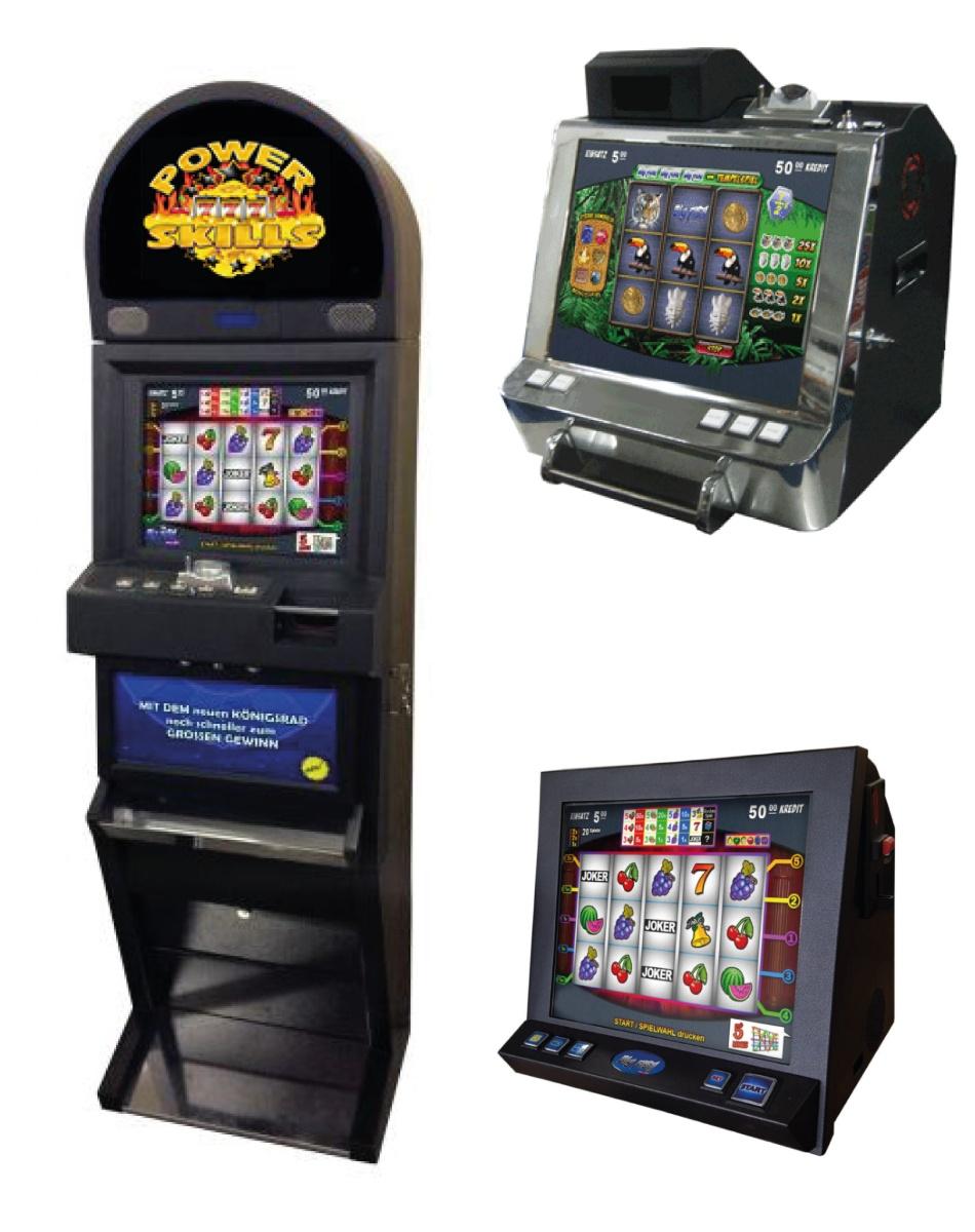 Die Geschicklichkeitsautomaten von PowerSkills. Zur Auswahl gibt es drei Modelle. Eines ist die Stehvariante und zwei können auf Tischen platziert werden